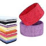 FASOTY 16 Pieces Sport Headbands Fashionable Towel Headbands Sweatbands Althetic Headband for Men and Women