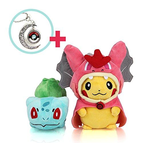 "Cutie Pokemon - Mega Charizard Y Pikachu 4"" - Bulbasaur 6"" Stuffed Set - Enjoy the Pokemon Plush Doll with Pokemon games."