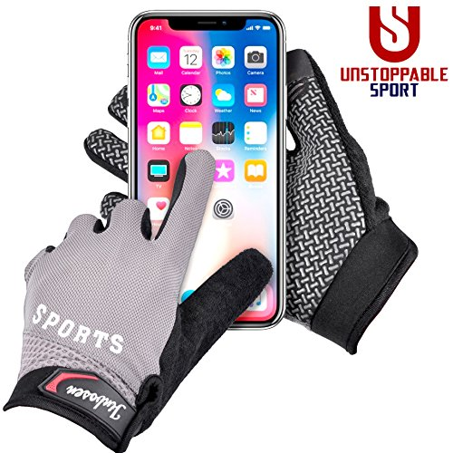 Mountain Bike Touchscreen Cycling Gloves - Full Finger Mtn Biking Glove, Breathable with Screen Wiping Pad, iPhone or Android Touchscreeen Capable, Bike Riding Training Gloves for Men Women (Medium)