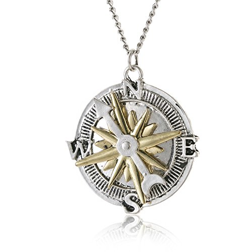 Huan XUN Compass Necklace Steampunk Vintage Hip Pop Directioner Jewelry