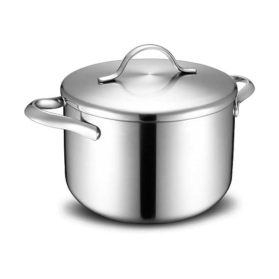 Olla JXLBB Sopa Acero Inoxidable Cocina de inducción de Gas de Tres Capas Compuesto Orejas de Recipiente Sopa de Leche para el hogar 24 cm: Amazon.es: ...