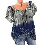 VJGOAL Women Summer Lace Patchwork Slash Neck Short Sleeve Cold Off Shoulder Blouse Top T Shirt(Army Green,3XL