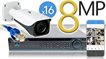 16 CH NVR with 16 4K 8MP Bullet Cameras 4K Kit for Business Professional Grade FREE 1TB Hard Drive