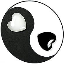 "Yin-Yang Hearts (1"") 1 Black Onyx; 1 White Aventurine - 2pc. Set"