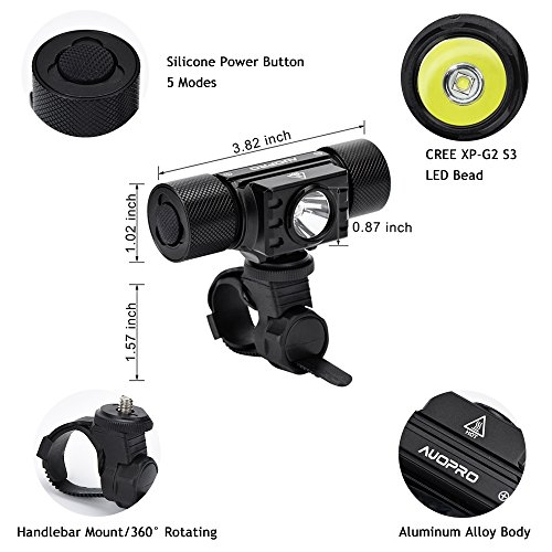 AUOPRO LED Bike Light Set - Bicycle Headlight USB Rechargeable and Red Taillight, Front and Back Rear Lights, Water Resistant Easy to Install for Road Cycling, Commuting by AUOPRO (Image #3)