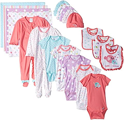 Gerber Baby Girls' 19 Piece Baby Essentials Gift Set, Birdie, Newborn - Gerber Toddler Bib