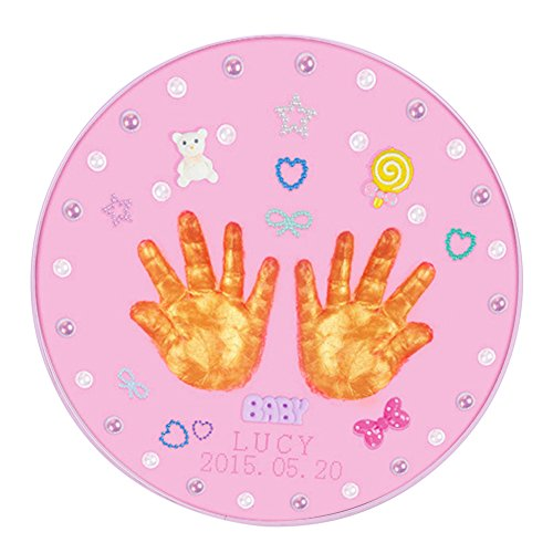 (QCHOMEE Double Baby Handprints Footprints Frame My First Year Touch Hand and Foot Print Casting Impression Kit Baby Photo Frame Set Baby Gift Keepsake for Baby Birthday,Christenings,Parents Gift)