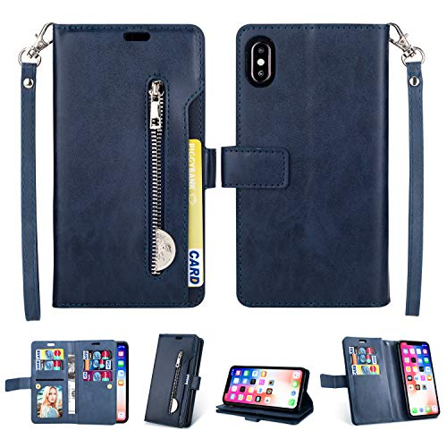 iPhone XR Case,iPhone XR Wallet Case, FLYEE 10 Card Slots Premium Flip Wallet Leather Magnetic Case Purse with Zipper Coin Credit Card Holder Cover for iPhone XR 6.1 inch Blue