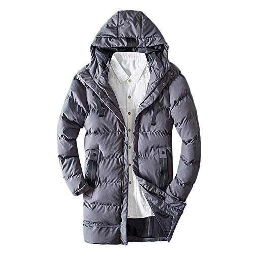 GOVOW US Size Cotton Jacket Men Long Sleeve Full Zip Warm Hooded Zipped Thick Solid Fleece Coat(US:6/CN:M,Gray)