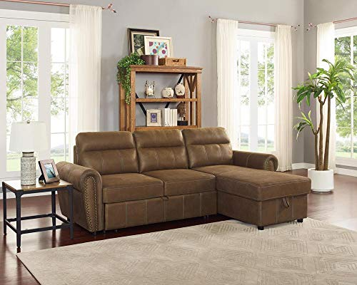 LILOLA Ashton Microfiber Reversible Sleeper Sectional Sofa Sandy Beige