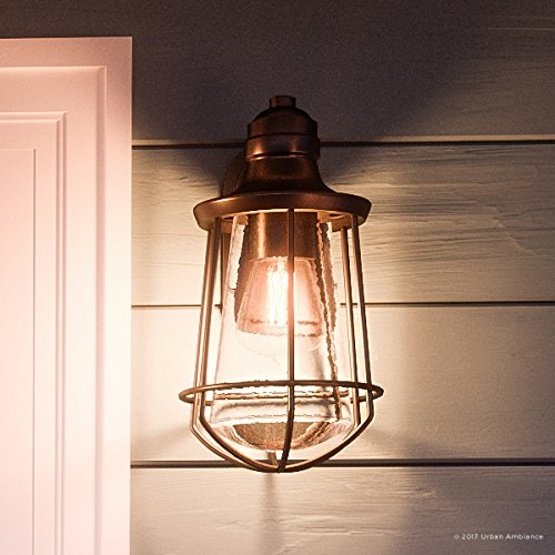 Luxury Vintage Outdoor Wall Light, Medium Size: 15''H x 8.5''W, with Nautical Style Elements, Cage Design, Estate Bronze Finish and Seeded Glass, Includes Edison Bulb, UQL1121 by Urban Ambiance by Urban Ambiance (Image #8)