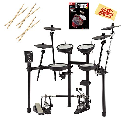 Roland V-Drums TD-1DMK Drum Set Bundle with Drum Sticks, Fast Track Drum Book, and Austin Bazaar Polishing Cloth