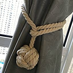 NUOLUX Hand Knitting Curtain Rope Curtain Tie Backs (Beige)