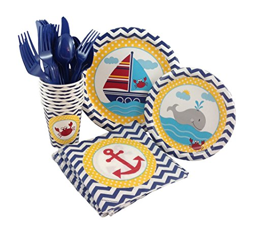 Ahoy Matey Birthday Party Supply Pack! Bundle Includes Paper Plates, Napkins, Cups & Silverware for 8 Guests