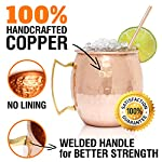Benicci SYNCHKG100599 Moscow Mule Copper Mugs - Set of 2 16 Ounce Mug with 2 Copper Straws and 1 Jigger, Hammered and Handcrafted 10 ✓ 100% food safe & pure Copper - just like the original 1941 mule: Benicia Copper mugs are not only Authentic but also safe. It went through a comprehensive third party safety and quality tests to make sure that it is food safe. Because we want you to 100% Enjoy your Moscow Mule without worries. ✓ impressive handcrafting - no two are the same: you already know proper handcrafted Moscow mule mugs are as stunning as they are functional. Enjoy your 100% authentic mule cups with a polish finish, you deserve them. ✓ Copper mugs Set of 2 - 12-month Guarantee & gift with purchase: order your Set of 2 Copper mugs today and receive free 2 pure Copper straws and measuring jigger. We're so happy with the craftsmanship on our mugs you get a 12-month money back Guarantee. Order now.