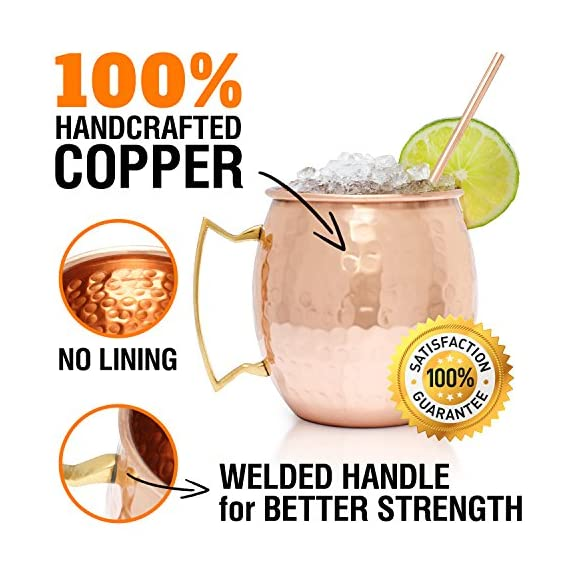 Benicci SYNCHKG100599 Moscow Mule Copper Mugs - Set of 2 16 Ounce Mug with 2 Copper Straws and 1 Jigger, Hammered and Handcrafted 3 ✓ 100% food safe & pure Copper - just like the original 1941 mule: Benicia Copper mugs are not only Authentic but also safe. It went through a comprehensive third party safety and quality tests to make sure that it is food safe. Because we want you to 100% Enjoy your Moscow Mule without worries. ✓ impressive handcrafting - no two are the same: you already know proper handcrafted Moscow mule mugs are as stunning as they are functional. Enjoy your 100% authentic mule cups with a polish finish, you deserve them. ✓ Copper mugs Set of 2 - 12-month Guarantee & gift with purchase: order your Set of 2 Copper mugs today and receive free 2 pure Copper straws and measuring jigger. We're so happy with the craftsmanship on our mugs you get a 12-month money back Guarantee. Order now.