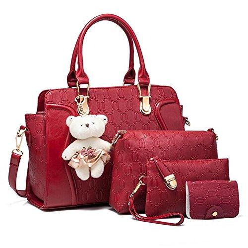Rouge Epaule A 4 Porte Sac Pieces Peluche Avec Showlovein Femme Main Nounours Bandouliere Quatre xOCRqIawS