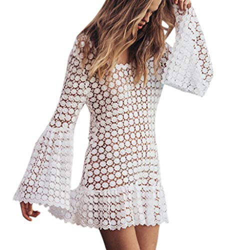 (TOOPOOT Sexy Dress for Women, Sexy Leisure Loose Lace Wave Edge Lace Long Sleeve V-Collar Dress White)