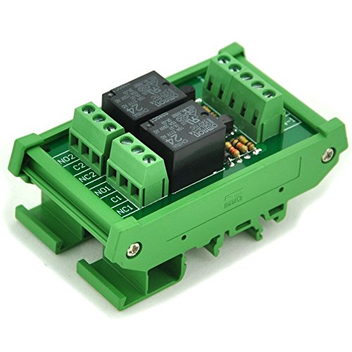ELECTRONICS-SALON DIN Rail Mount 2 SPDT Power Relay Interface Module, 10A Relay, 24V Coil.