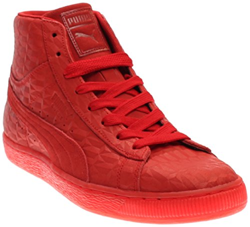 PUMA  Men's Suede Mid Me Iced High Risk Red/White Athletic - Leather Mid Footwear Red