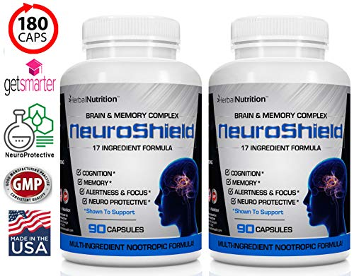 #1 Rated NeuroShield Brain & Memory Supplement | Multi-Ingredient Formula | Protects Brain, Prevents Age Related Decline and Improves Cognition & Focus | Two 90 Counts | 180 Day Supply | Free Shipping