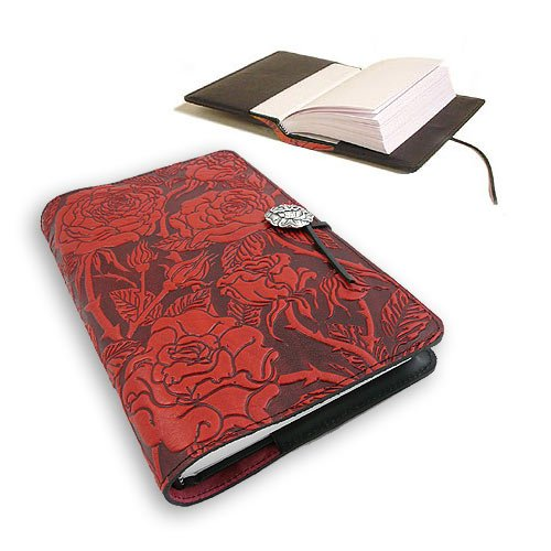 Wild Red Rose Embossed Leather Writing Journal, American Made, 6 x 9-inch + Refillable Hardbound Insert Book by Modern Artisans (Image #2)