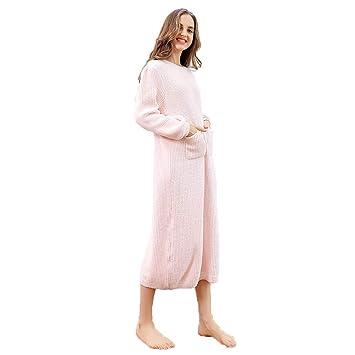 Albornoz Pijamas De Las Mujeres Toalla De Baño Batas Camisas Batas Acolchado Cálido Servicio A Domicilio Pijamas Bolsillo Casual (Color : Pink): Amazon.es: ...