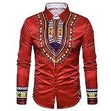 Men's Shirts On Sale, Jiayit Men's African Print Dashiki T-Shirt Autumn Long Sleeve Fashion Tops Tee (3XL, Red)