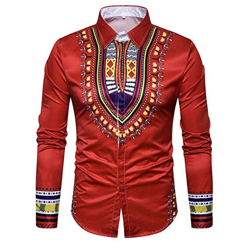 Men's Shirts On Sale, Jiayit Men's African Print Dashiki T-Shirt Autumn Long Sleeve Fashion Tops Tee (3XL, Red) by Jiayit Men Shirt