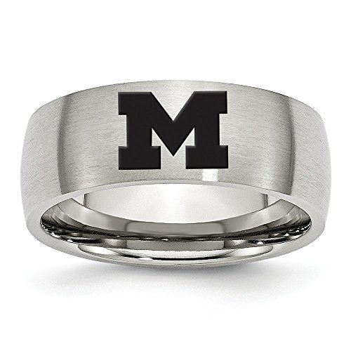 (Jewel Tie Size 10 - Stainless Steel University of Michigan Laser Etch Ring (8mm))