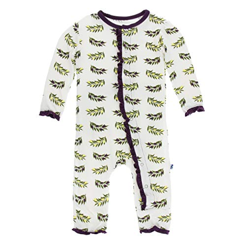 Kickee Pants Little Girls Print Layette Classic Ruffle Coverall with Snaps - Natural Olive Branch, 0-3 Months