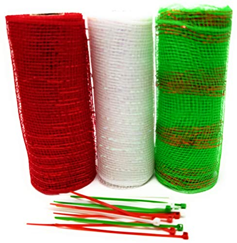 Christmas Holiday Decorative 5 Yard Mesh Rolls (Pack of 3) for Crafting Wreaths and Zip Ties for Securing Mesh to Frames (Red, Green Stripes, White) ()