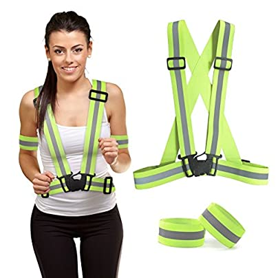 ACHICOO Lightweight amp Adjustable amp Elastic Reflective Vest and Wrist Straps Wristbands Safety amp High Visibility for Running Jogging Walking Cycling Outdoor Products Estimated Price £5.99 -