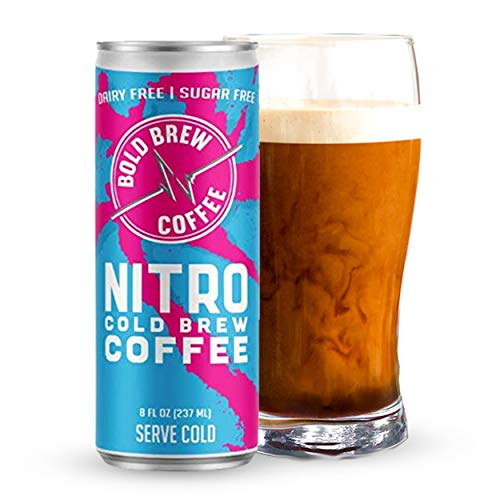 Nitro Cold Brew Coffee, Organic Arabica Coffee, 0 Calories, No Preservatives & Dairy-Sugar Free, 180mg Caffeine (12 Cans, 8oz)