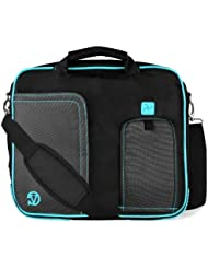 Pindar Water-Resistant Durable Nylon Protective Messenger Shoulder Bag [AQUA/BLACK] For ASUS Zenbook 13.3-Inch...