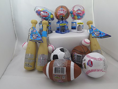 Candy Filled Dispensers (Kidsmania Set of 10 Sports Collections Toy Gum Filled Baseball Bat,Soccer,Basketball,Football,& Baseball ( From Candy World ))