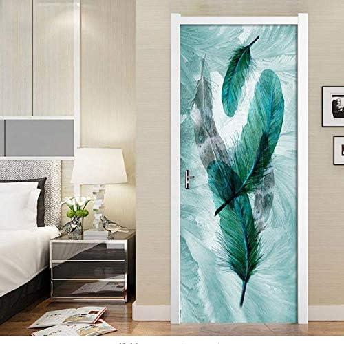 HHKX100822 Autocollant De Porte Belle Plume Bleue Art D/écor Maison Cr/éative DIY 3D Porte Autocollants Motif pour Mur Chambre Home Porte D/écor Stickers Mural77X200Cm
