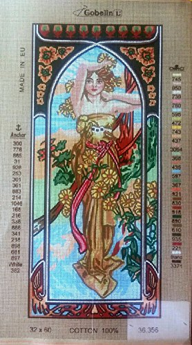 (Needlepoint Painted Canvas Cross Stitch Tapestry Kit Gobelin - Lady. (12.5x23.5)inc 36.356 By Gobelinl L)