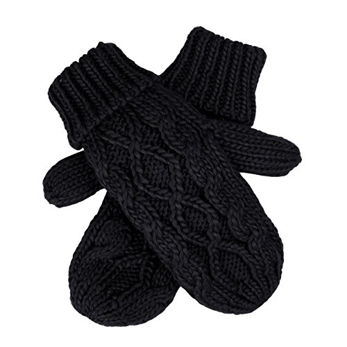 Gloves Crochet Twist Cable Knit Hand Warmer Mittens Black One size ()