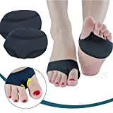 Gel Forefoot Cushions Sleeves, Stretchable & Anti Slip Metatarsal Pads Forefoot Support Ball Of Foot Cushions Inserts Massager, Pain Relief Absorber Prevent Calluses Pressure Friction (L, Black)