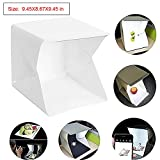 Table Top Folding Photo Studio Shooting Tent, Folding Photography Studio Portable Light Box Kit with LED Lights + Two Backgrounds (White and Black)
