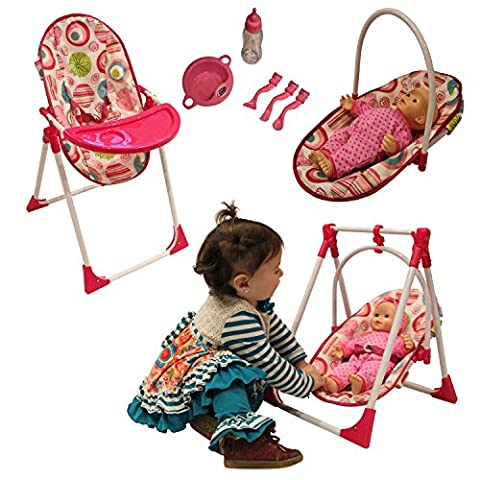 3-1 Doll Highchair set with Accessories (DOLL NOT INCLUDED) - Doll Furniture High Chair