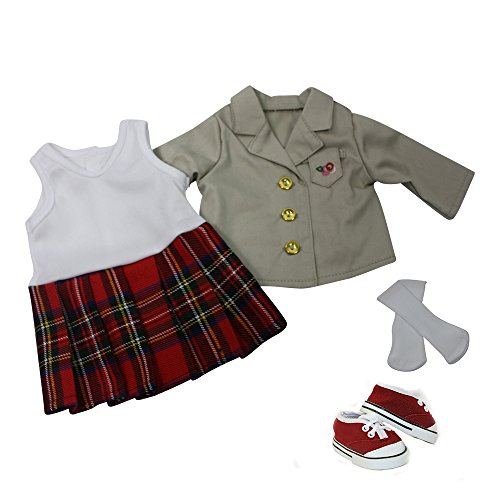 Arianna 4PCS School Uniform Complete   Dress   Jacket   Socks   Sneakers   Fits American Girl 18 inch Doll clothes - Boutique Quality She's Worth it! - Designed In USA Fit 18 Inch Dolls