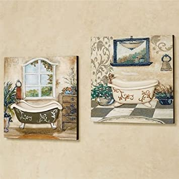 Amazon.com: Salle de Bain Wall Art Taupe Set of Two: Home ...