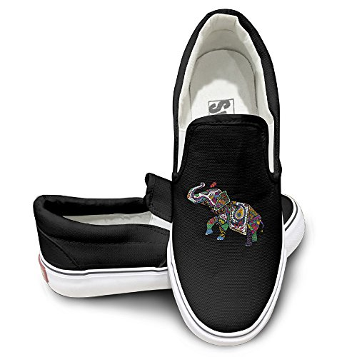 LOVVER94 Adult Cute India Treasure Elephant Canvas Shoes Sneakers Slip On Shoes 36 Black