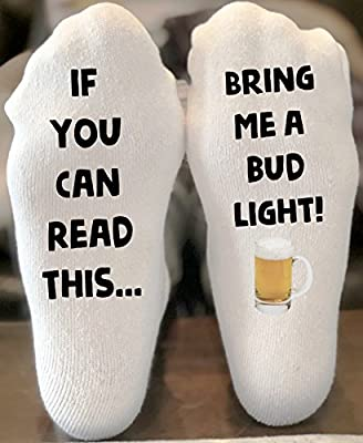 If You Can Read This Bring Me a Bud Light Novelty Funky Crew Socks Men Women Christmas Gifts Slipper Socks
