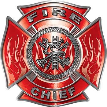 (Fire Chief Maltese Cross with Flames Fire Fighter Decal in)