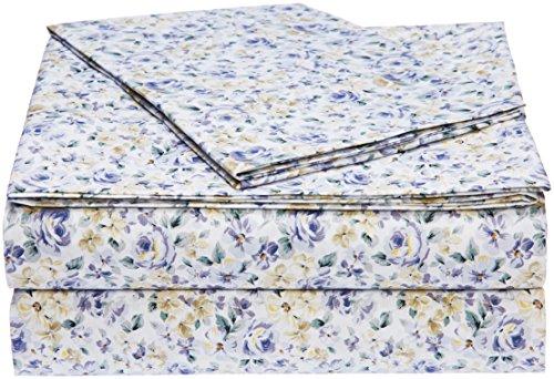 AmazonBasics Light-Weight Microfiber Sheet Set - Twin XL, Blue Floral