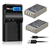 OAproda BLS-5 Batteries (2 Pack) and LCD USB Charger for Olympus BLS-5, BLS-50, PS-BLS5 and Olympus OM-D E-M10 III, E-M10 II, E-M10, PEN E-PL9, E-PL8, E-PL2, E-PL3, E-PL6, E-P3, E-PM1, E-PM2, Stylus 1
