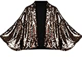 Keaac Women's Sequins Fashional Batwing Sleeve Outerwear Sexy Suit Jacket Golden S